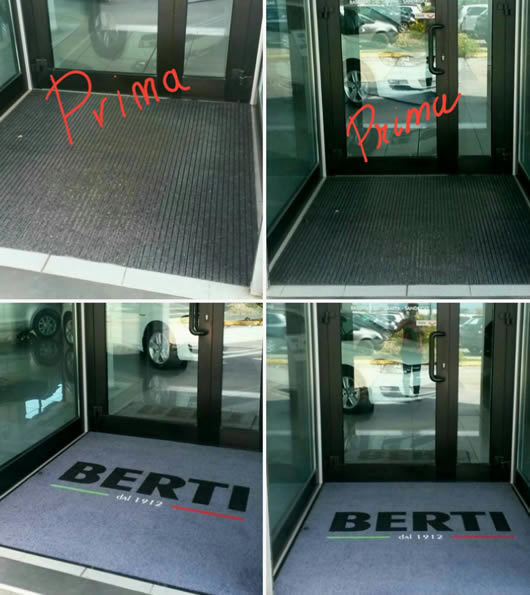 Prima e dopo l'inserimento dello zerbino personalizzato da esterno con logo della Concessionaria Berti