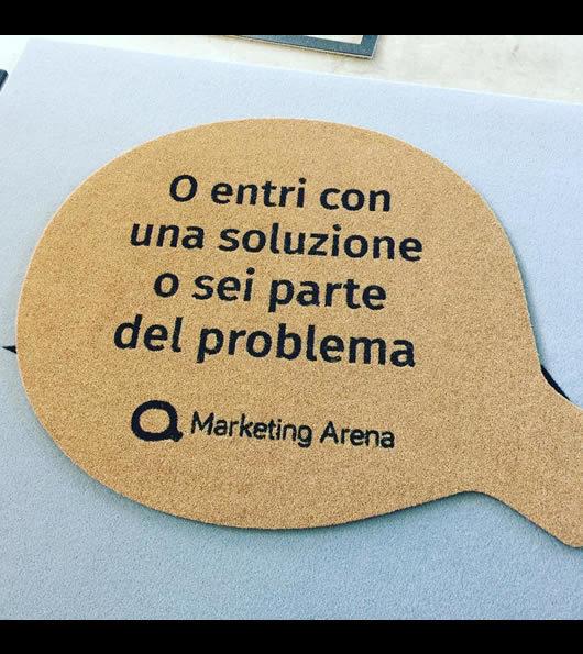 zerbino con messaggio personalizzato per Marketing Arena